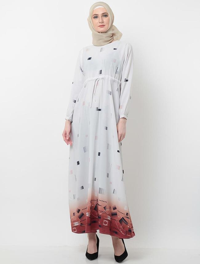 Aqilla Dress Abstract White Maroon