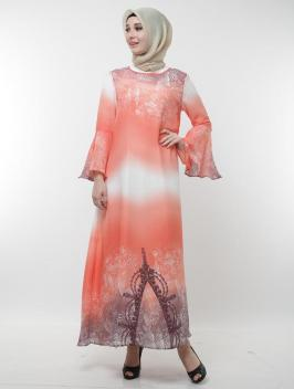 Mahveen Dress Orange White