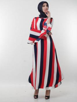 Azka Dress Stripe Red Navy